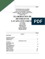 Elaboración de Detergente Lavaplatos Líquido