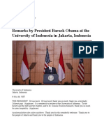 Remarks by President Barack Obama at the University of Indonesia in Jakarta, Indonesia