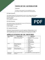Applications of DC Generators & Motors
