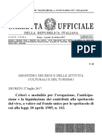 Decreto Ministeriale 27 Luglio 2017 (Contributi FUS)