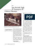 Orinoco bitumen pumping