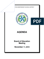 HISD November Board of Education Agenda