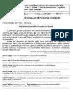 Avaliação de Língua Portuguesa II Unidade.docx