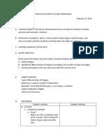 A Detailed Lesson Plan for Grade7 Mathematics Robert