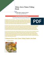 15 Makanan Khas Jawa Timur Paling Populer Dan Enak