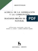 107 - Aristoteles - Acerca de La Generacion y La Corrupcion