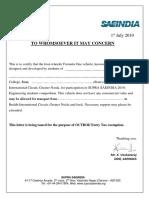 SUPRA SAEINDIA 19 Octroi Exemption Format