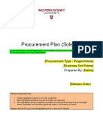 Procurement Plan for Sole Supplier Sept 2018