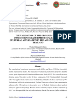 The Validation of the Organizational Commitment Measurement Scale- A Cross Cultureal Application in the Aviation Sector in Thailand