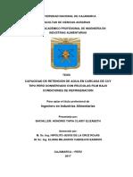 CAPACIDAD DE RETENCIÓN DE AGUA EN LA CARCASA DE CUY