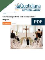 Rinunciare Agli Effetti Civili Del Matrimonio Religioso