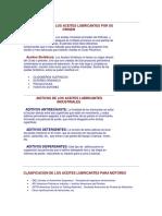 Clasificacion aceites lubricantes