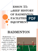 Brief History of Badminton Facilities and Equipment