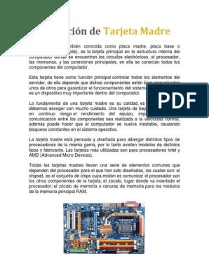 Placas Madres Docx Hardware De La Computadora Memoria De