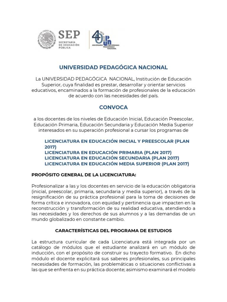 Convocatoria Cuatro Licenc En Linea Secondary Education