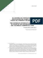 Articulo 4 Sistema de Contratos de Explotacion Del Buque en El Codigo de Comercio Colombiano