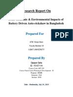 Socio-economic & Environmental Impacts of Battery Driven Auto-rickshaw in Bangladesh