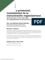 Lo Oral y Lo Presencial. Luz Gabriela Restrepo