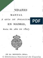 Kalendario Manual y Guía de Forasteros en Madrid. 1827