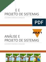 AULA DE ANALISE DE PROJETOS DE SISTEMAS . S.I.