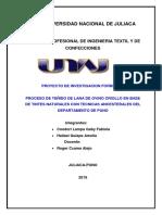 Proceso de Teñido de Lana de Ovino Criollo en Base de Tintes Naturales Con Tecnicas Ancesterales Del Departamento de Puno