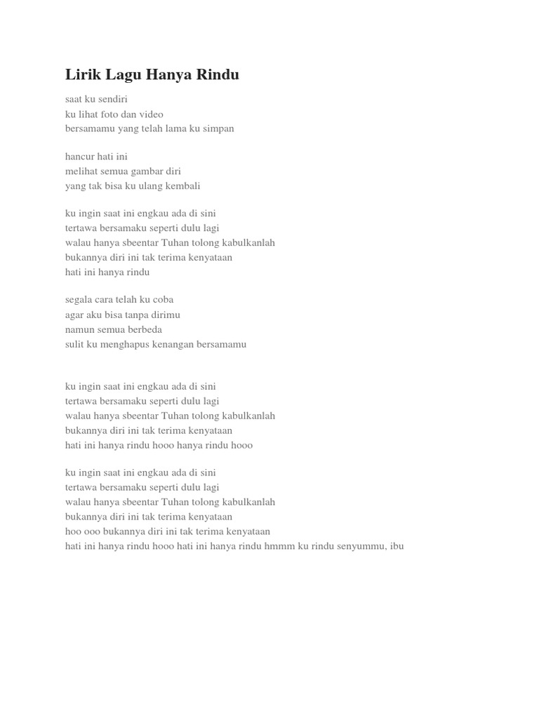 Lirik Lagu Hanya Rindu Docx