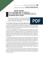 Tensión Entre Cultura de La Vida y Cultura de La Muerte en La Evangelium Vitae (Bioética)