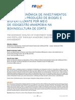 Análise econômicA de investimentos que visAm à produção de biogás e biofertilizAnte por meio de iodigestão AnAeróbiA nA bovinoculturA de corte