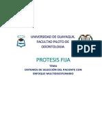 Protesis-fija- Criterios de Selección Del Paciente Con Enfoque Multidisciplinario