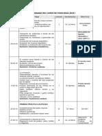 Cronograma Del Curso de Fisiologia 2019 I