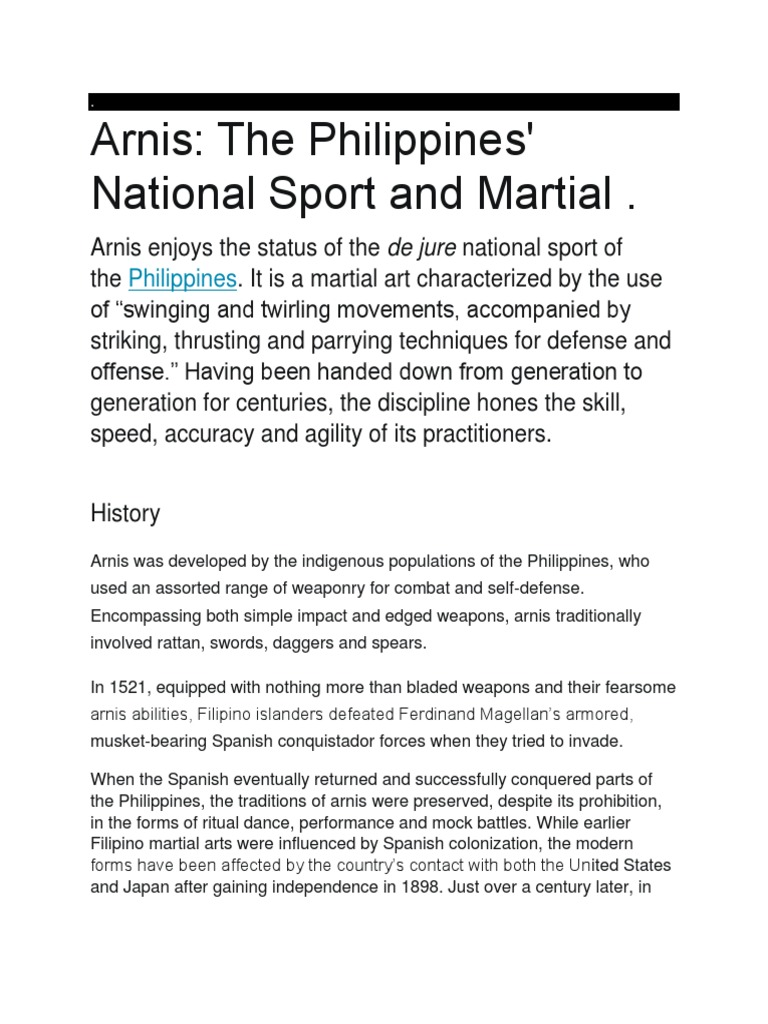 Arnis The Philippines National Sport And Martial Combat Sports Combat