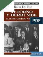De Riz Liliana. Retorno y Derrumbe. El Último Gobierno Peronista. (1)
