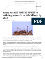 Saudi Aramco Seeks to Double Its Refining Network to 10 MMbopd by 2030
