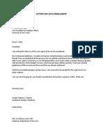 Letter for Late Enrollment