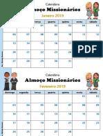 calendário Almoço dos Missionários