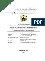 Implementacion Del Plan de Cierre de Las Areas Auxiliares Del Proyecto; Rehabilitacion y Mejoramiento de La Carretera Puerto Bermudez- San Alejandro, Tramo Ciudad Constitucion- Puerto Sungaro