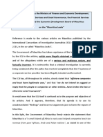Ministry of Finance and Financiel Services joint communiqué on Mauritius Leaks