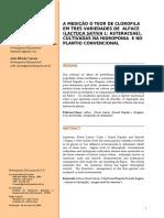 A MEDIÇÃO O TEOR DE CLOROFILA EM TRES VARIEDADES DE ALFACE (LACTUCA SATIVA L