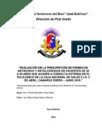 """""""EVALUACIÓN DE LA PRESCRIPCIÓN DE FÁRMACOS ANTIÁCIDOS Y ANTIULCEROSOS EN PACIENTES DE 20 A 59 AÑOS QUE ACUDEN A CONSULTA EXTERNA EN EL POLICLÍNICO DE LA CAJA NACIONAL DE SALUD C.I.S. 3 DE ABRIL, CAMARGO ENERO – JUNIO 2018."""""""