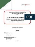 LA VULNÉRABILITÉ DES COMMUNES DE LA  RÉGION DE L'EXTRÊME NORD AUX EFFETS DU  CHANGEMENT CLIMATIQUE
