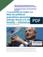 Politicos Argentinos Apoyados Por Soros