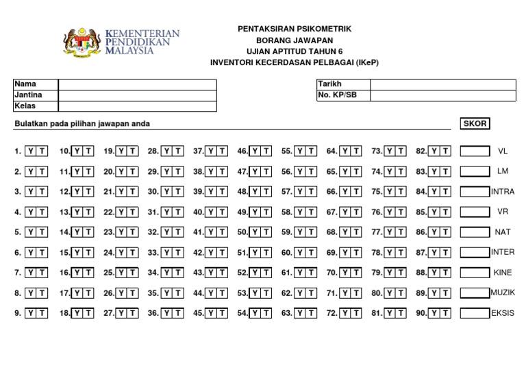 Borang Jawapan Ikep 2019 2