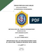 IMPORTANCIA DE LAS ORGANIZACIONES PARA EL APOYO DEL TRABAJO INFANTIL EN EL PERÚ