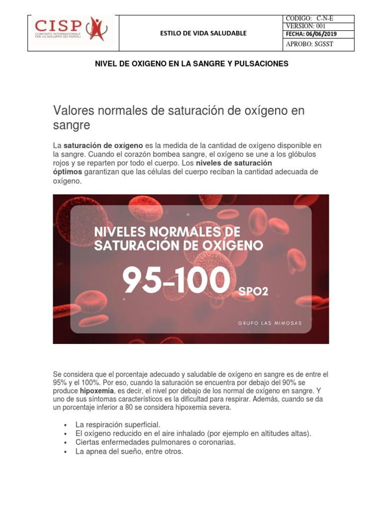 niveles normales de saturacion de oxigeno en sangre pdf