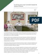17-07-2019 Dictaminan iniciativa de ley para crear Comisión Estatal de Búsqueda de personas en Sonora - Proyecto Puente