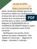 Suspensión Juicio Uribarri (25 de julio de 2019)