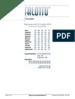 Estrazioni del Lotto Italiano di giovedi 25 Luglio 2019