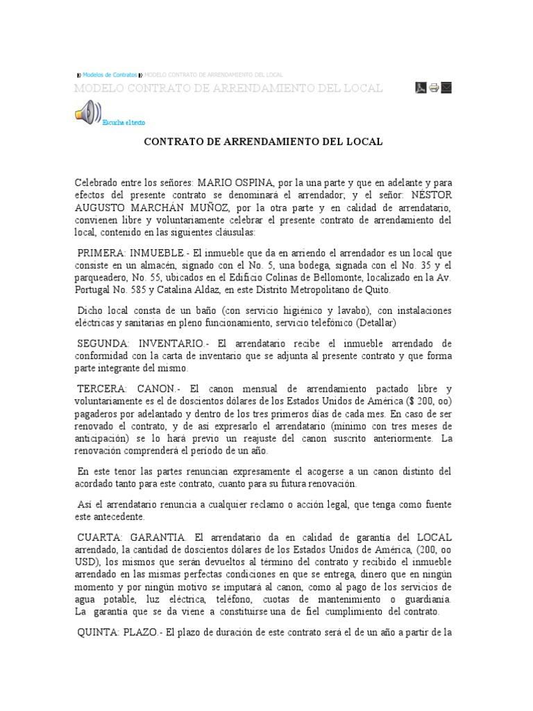 Modelo de contrato de arrendamiento en ecuador for Modelo contrato alquiler vivienda sencillo