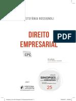 DIREITO EMPRESARIAL ESTEFÂNIA ROSSIGNOLI. 6 a Edição. Coleção SINOPSES Para Concursos. Revista, Ampliada e Atualizada