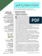 Boletin Cultural e Informativo HOMO ALTIPLANICUS Nro. 1 Lima 2019. Por Grupo intelectual COLLAO.